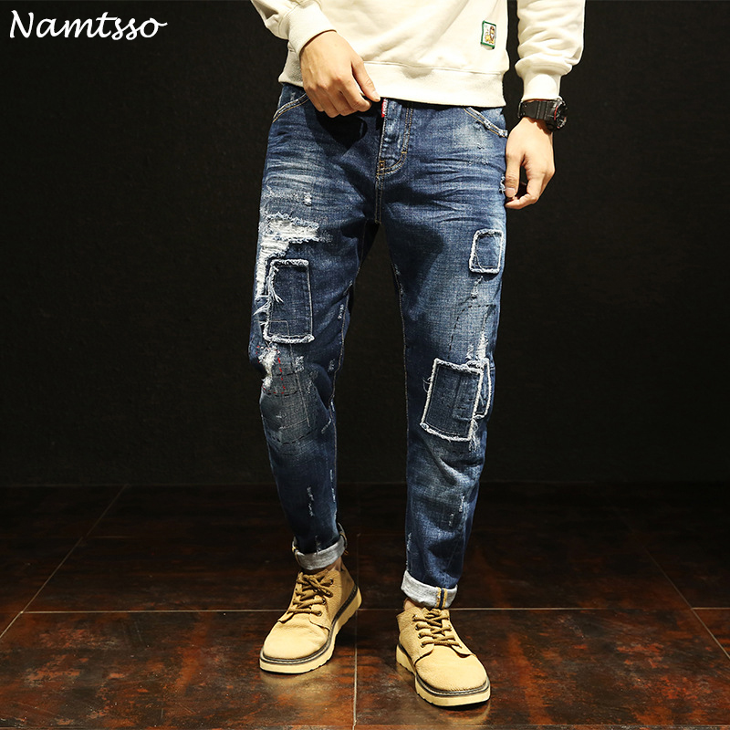 New mens thin jeans stretch fashion wild young Korean version of the trend of patch loose Harlan feet jeans