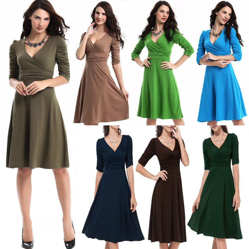 Aliexpress.com   Buy Womens Elegant Dresses Maxi Big Size V Collar High  Waist Work Party Casual S 2XL 9 Colors Fashion Clothes Women 2016 from  Reliable ... 1533d085d28d