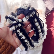Fashion Luxurious Lace Pearls flowers hair hoop Hair Accessories Women Girls  Band Ponytail Rope Hairbands headwear
