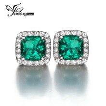 JewelryPalace Cojín Nano Ruso Emerald 2.1ct Creado de Halo Stud Pendientes Solid 925 Elegantes Accesorios de Las Mujeres