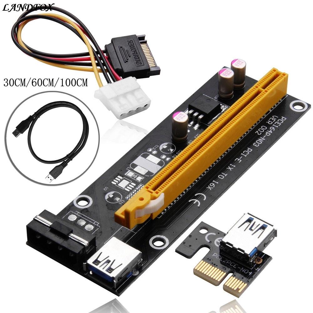 LANDFOX Extender Riser Card Adapter USB3.0 1x to 16x SATA 4Pin Power Cable PCI-E Expre 30CM/60CM/100CM For Bitcoin BTC Machine 10x usb 3 0 pci e 1x to 16x powered extender riser adapter card with sata cable