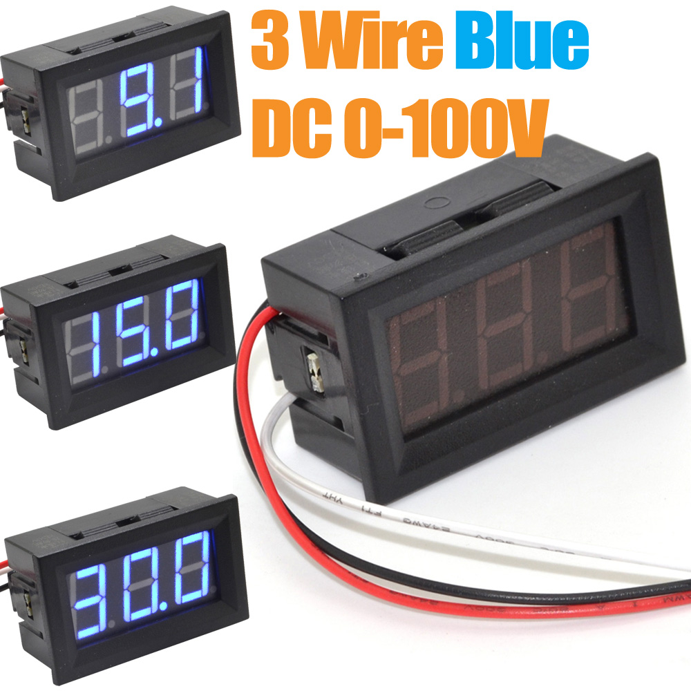 10pcs Digital Voltage Panel Mount Voltmeter 0 100v Blue Led Car Wiring Battery Power Monitor Free Shipping 10000532 In Meters From Tools On
