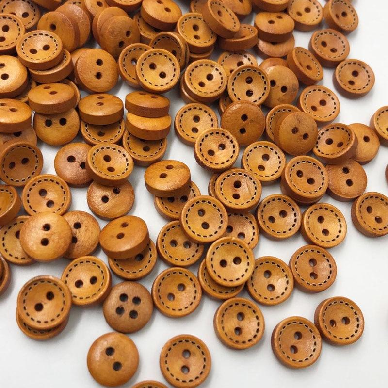 50/100 шт 10 мм коричневого цвета с 2 отверстиями круглые деревянные пуговицы для шитья Скрапбукинг ремесло WB625