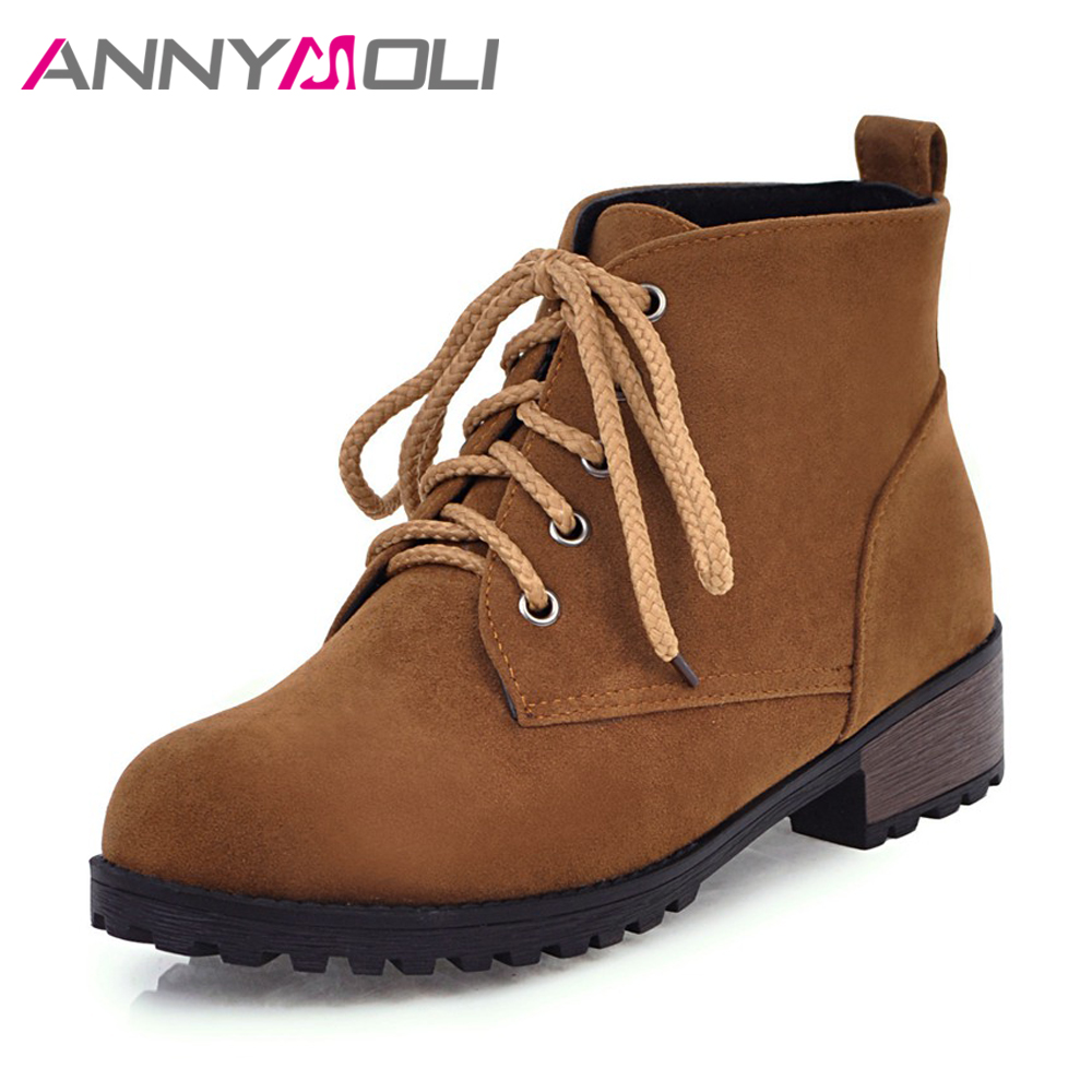 ANNYMOLI Winter Boots Women Lace Up Ankle Boots Platform Flat Martin Boots Round Toe Casual Women Shoes 2018 Black Size 42 43 enmayer hot new fashion round toe lace up flat ankle snow boots for women winter boots shoes large size 34 43 platform shoes