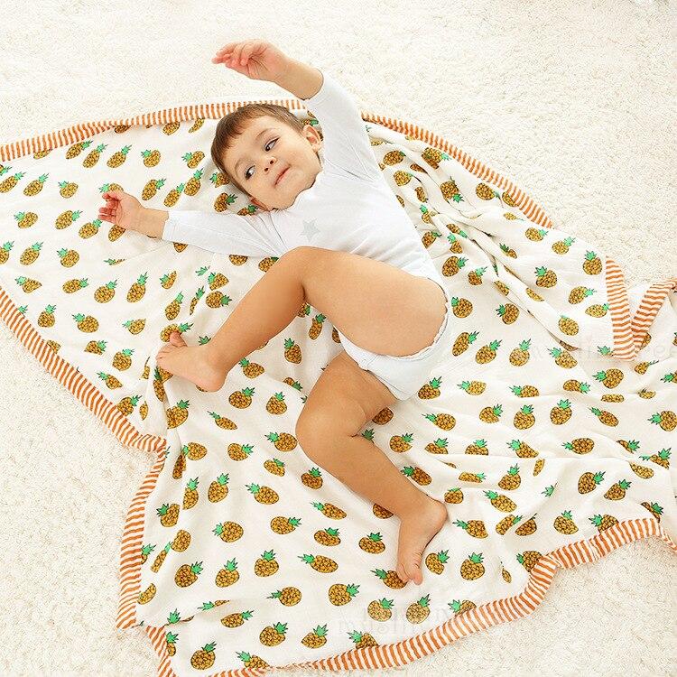Nouveau mode fruits bébé couverture, Épaissir 4 couches Bébé Muslin Swaddle couverture, 120*120 cm Coton nouveau-né couvertures bébé photographie