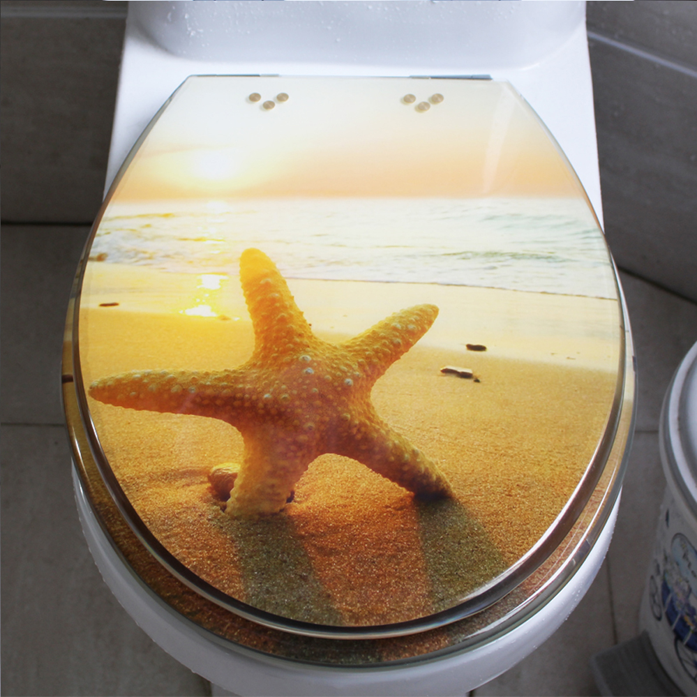 48*38CM High-grade beautiful Sunset beach Resin toilet seat cover