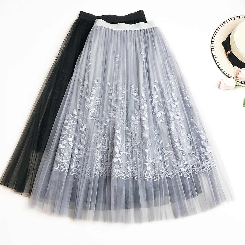 08ead6df4 ... Summer New Women Lace Skirt Fashion Embroidered Gauze Skirt Fairy Mesh  with Lining Knee-length ...