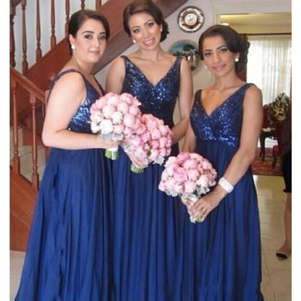 Royal Blue Long   Bridesmaid     Dresses   2019 High Quality Sequined Chiffon A Line Floor Length Cheap Wedding Party Gowns Custom Made