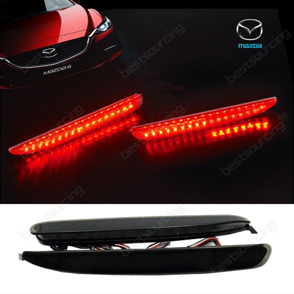 Black Smoked Lens Bumper Reflector LED Stop Brake Light GG Mazda6 Atenza Mazda 6(CA171)