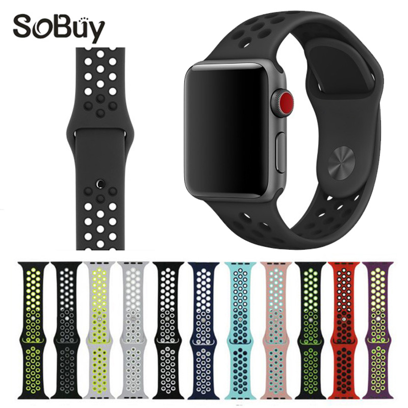 So buy sports cozy Silicone band for apple watch nike 42mm wrist strap 38mm rubber bracelet watchband for iwatch series 3/2/1