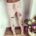 Nuevo verano otoño pantalones de las mujeres de moda slim fit casual ladies harem pantalones de talle bajo hollow out largo sólidos pantalones de las mujeres, LB2417