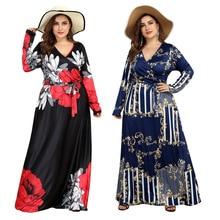 Women Long Dress 2019 Spring Autumn Sexy V-neck Print Dress Boho Tie Waist Long Sleeve Party Beach Dresses Vestidos De Fiesta