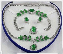 Charming Set Jewelry Green Jade Necklace Bracelet Earring Ring (No box)AA15 5.23(China)