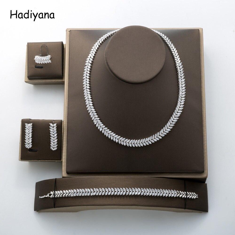 Hadiyana mode pendentif oeil de cheval ensemble de bijoux nouveau charmant Dubai cubique zircone bijoux accessoires ensemble fabricant TZ8069