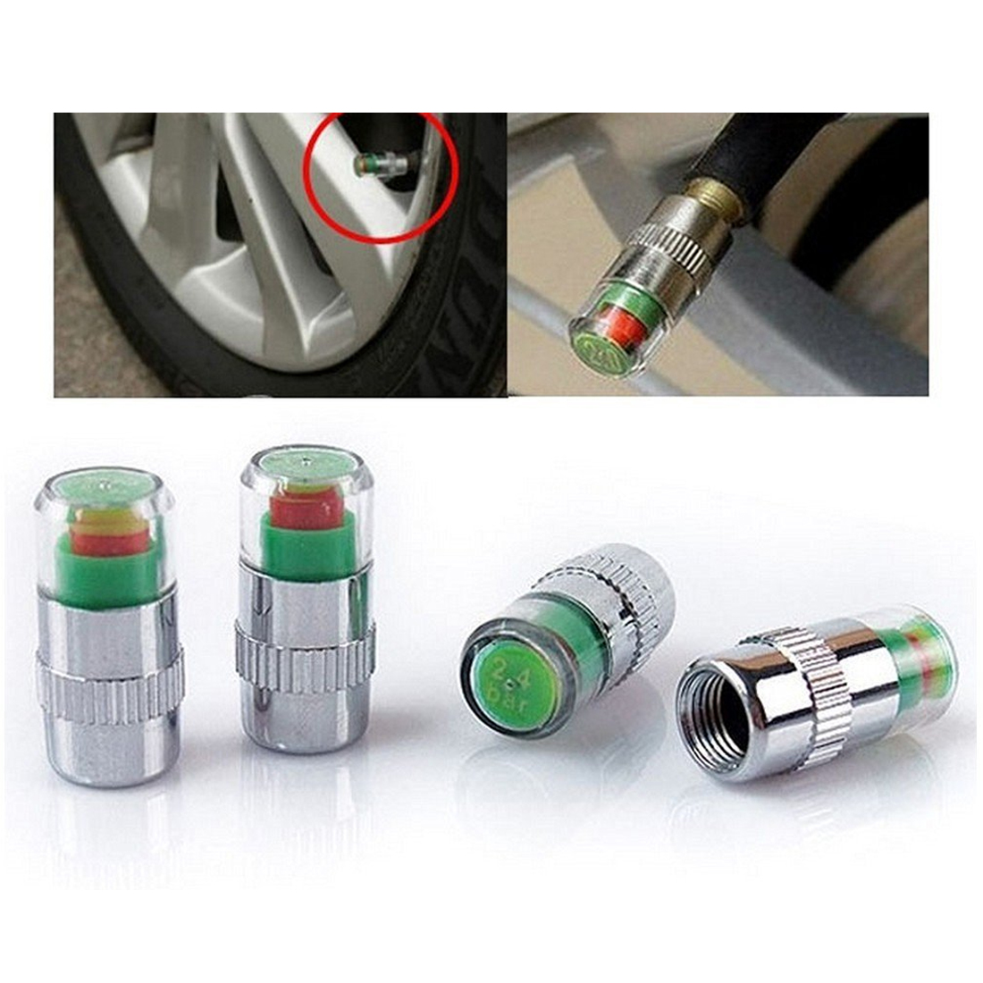 Hot! 4Pcs/Lot  Tire Pressure Tire Monitor Pressure Gauge, Tire Gage Alert Sensor Indicator Valve Caps