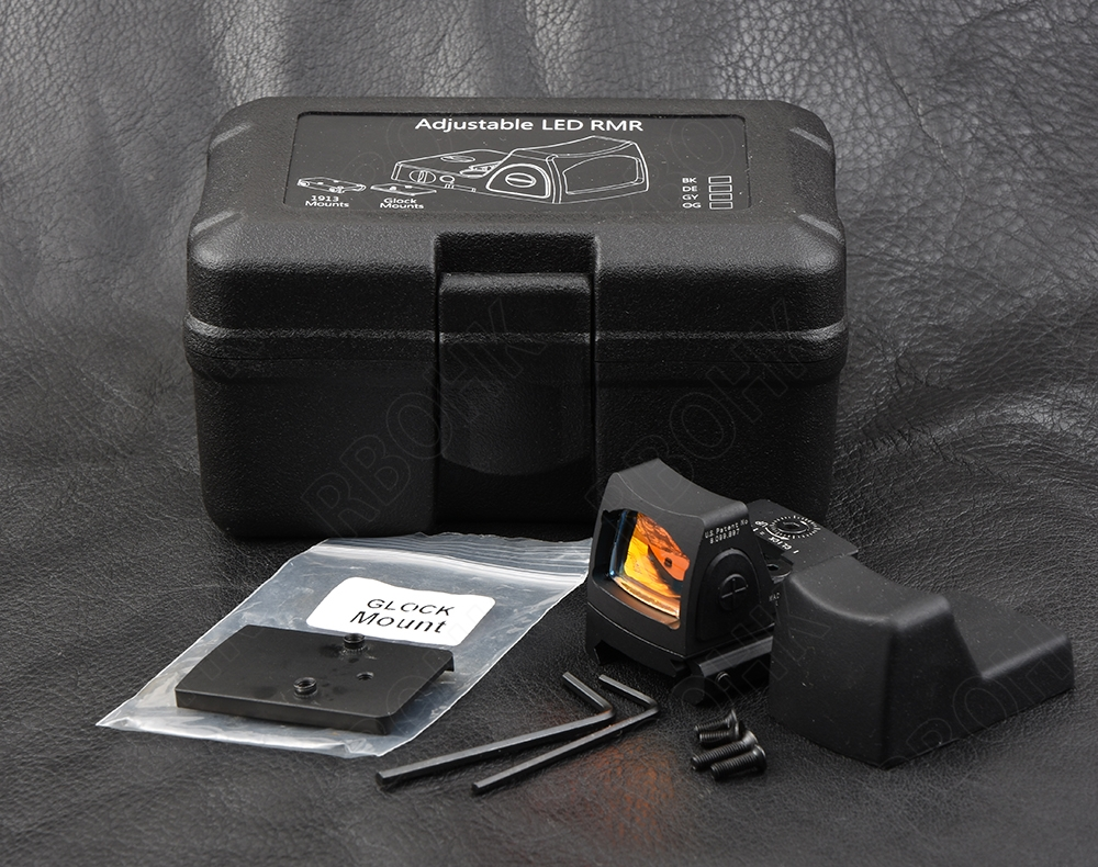 Mini rmr style 1x rouge dot sight portée pour picatinny rail et glock base montage interrupteur à Clé 6 MOA noir m6293