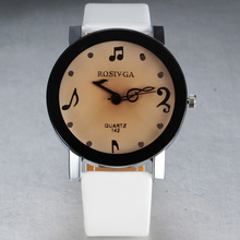 New Fashion Brand Lady Pu Leather Strap Quartz Clock With Brown Diamond Cut Window Glass Music Note Dial Women Wrist Watch