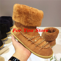 Women Warm Fur Winter Shoes Round Toe Gold Chain Decor Women Snow Boots Short Booties Brand