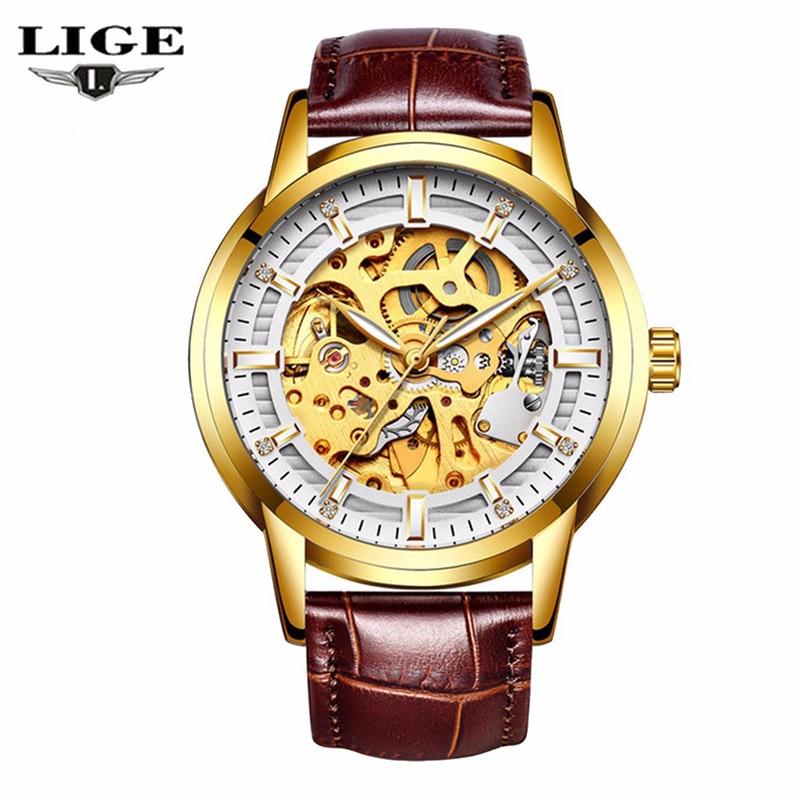 все цены на LIGE Hollow Skeleton Automatic Mechanical Mens Watch Man Classic Leather Business Men WristWatches Male Sport Clock Reloj Hombre