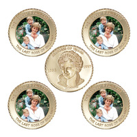 WR Princess of Wales 24k Gold Coin Collectible The 20th Last Rose of England Commemorative Souvenir Coins for Collection