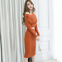 Knitted Orange Sleeve Office Pencil Party Dress