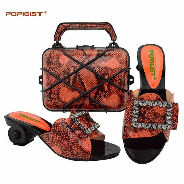 Laranja de Alta Qualidade Sapatos e Bolsa de Definir Com Pedras Africano Moda Nigeriano Casamento Sapatos De Salto Alto Mulher Bombas Sandálias Saco de Harmonização