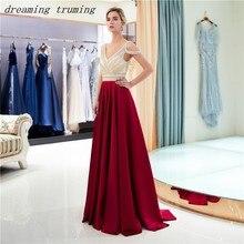 358dc56a1 Abendkleider Borgoña vestidos 2019 V escote una línea mancha lentejuelas  espalda abierta Formal vestido de fiesta noche para las.