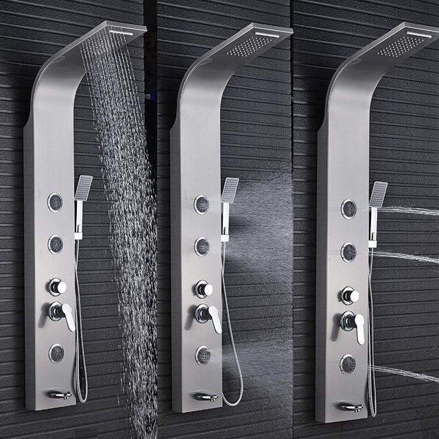 Bathroom 5 Functions Nickel Brushed Shower Panel Waterfall Shower Panel  Wall Mounted Shower Faucet Shower Panel