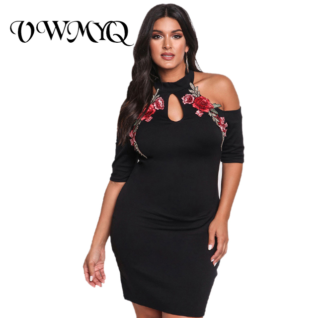 5486079948 Plus Rozmiar Sukienki Kobiety 2017 Summer Fashion Big Size Kwiatu Róży haft  Sexy Off the shoulder