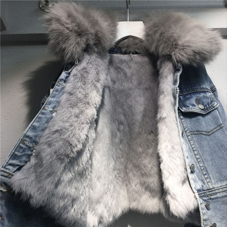 New Fashion Loose Warm Women's Denim Coat Short Real Rabbit Fur Line Jacket Female Long Sleeve Casual Fur Jeans Jacket Parka
