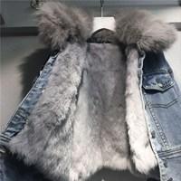 New Loose Women's Denim Coat Short Real Rabbit Fur Line Female Jacket Long Sleeve Jeans Jacket With Fur Parka