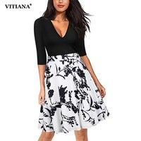 VITIANA Women V Neck A Line Office Dress 2017 Autumn Half Sleeve Black Flower Print Patchwork