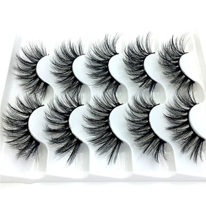 Image 2 - NUOVO 5/9/10 pairs Ciglia di Visone 3D ciglia Finte di Spessore Incrociato Trucco di Estensione del Ciglio Naturale Volume Molle Falso Occhio ciglia