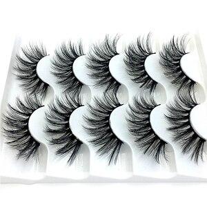 Image 2 - Nieuwe 5/9/10 Pairs Mink Wimpers 3D Valse Wimpers Dikke Kriskras Make Wimper Extension Natuurlijke Volume Soft Fake Eye wimpers