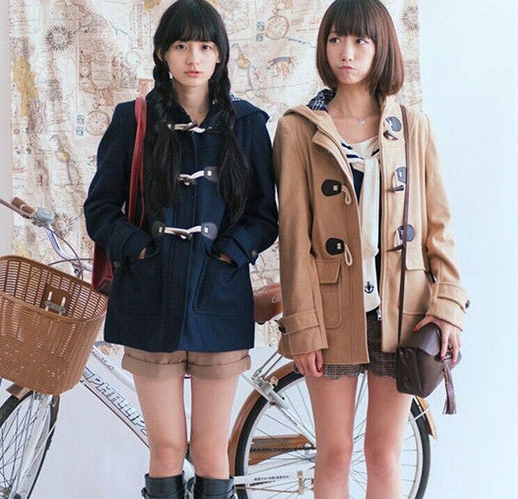 Japanese Girls School Studente Uniformi JK Corno Fibbia Cappotto di Trincea Carino Inverno Maniche Lunghe Outwear 3 Colori-in Lana e misto lana da Abbigliamento da donna su  Gruppo 1