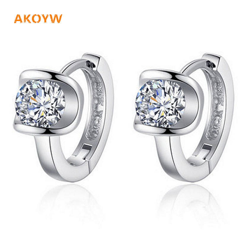 The new U-shaped silver Ms. Angel kiss cubic zirconia earrings fashion retro lovely princess high-end jewelry silver earrings