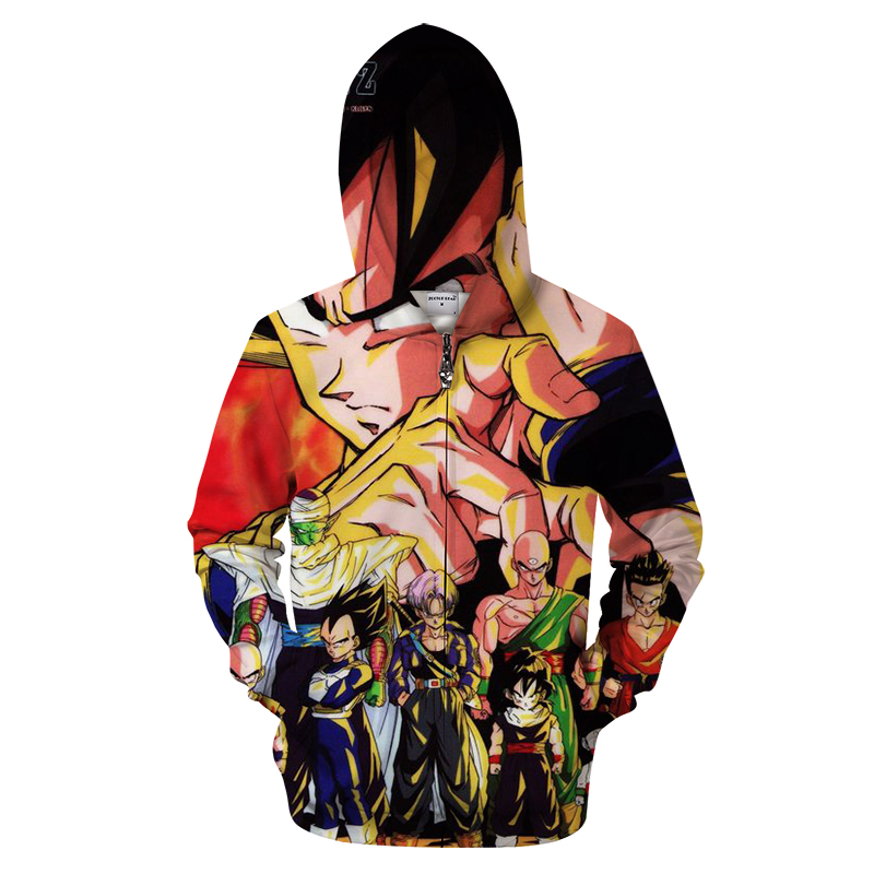 Anime 3D Zip Hoodie Men Zipper Hoody Goku Dragon Ball Tracksuit Groot Sweatshirt Saiyan Harajuku Pullover DropShip ZOOTOP BEAR
