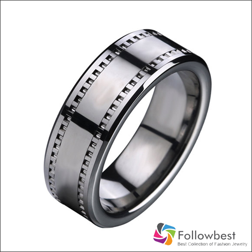 8mm Comfort Fit Movie Film tape Tungsten carbide Ring