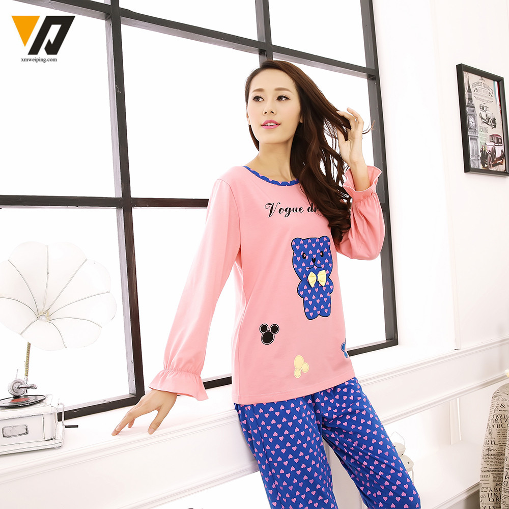 9b4f4963d9 Women Cotton Animal Pajamas Set Girls Cute Lovely Bear Pyjamas Sleepsuit  Full Sleeves O neck Nightwear House Clothing-in Pajama Sets from Underwear  ...