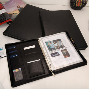 Image 4 - A4 Document Folder PU Leather Zipped Ring Binder Conference Bag Business Briefcase Office School Supply With Calculator Notebook