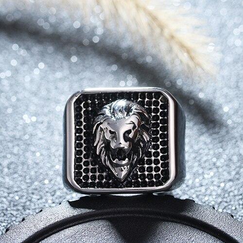 Noonmary Lion head A Forma di anello di modo fatto di metallo in colore grigio per l'uomo e le donne fine jewelry