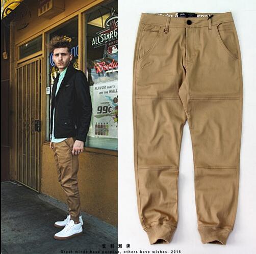 Мужская городская одежда M-2XL мужская хаки брюки тощий jogger высокое качество мода публиковать синий/зеленый/хип-хоп коридоры