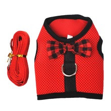 Nylon Mesh Bowtie Cat Harness and Leash Small Walking Pet Kitten Clothes Red Black Supplies