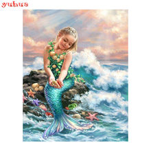 5d diy diamante bordado sirena chica diamante pintura Cruz puntada diamante mosaico Decoración(China)