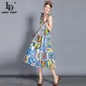Image 3 - LD LINDA DELLA Fashion vestido Midi de algodón para mujer, vestido con lazo y tirantes finos, con hermosa estampado Floral