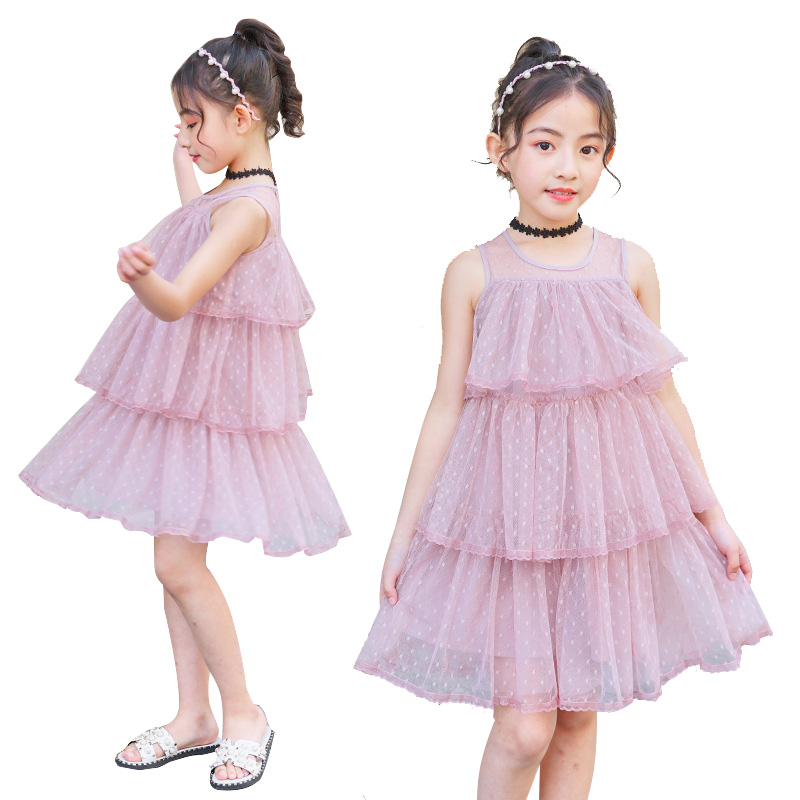 a5e88f6fc الأميرة اللباس للطفل الفتيات شبكة الاطفال فساتين بلا أكمام الفتيات اللباس 6  8 12 سنوات الأطفال