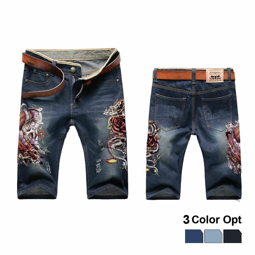 Men Boy Short Jeans Skinny Hole Ripped Retro Destroy Pants Denim Straigh Trousers Print Design Beach Hip Hop Skate Pants Rose in Jeans from Men 39 s Clothing