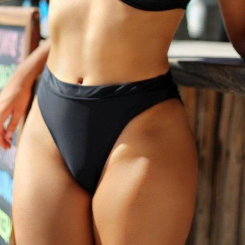 Womens Sexy Swimsuit Vintage Swimwear Black Brazilian Biquini Secret Bikinis Bottom High waist Cheeky Bikini Bottoms Thong 2