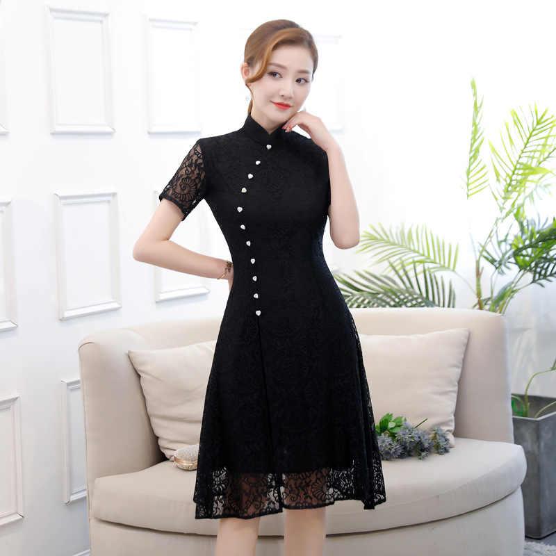 Summer New Lace Aodai Cheongsam Elegant Women' s Handmade Button Dress Short Sleeve Knee Length Sexy Short Dress S-XXXL