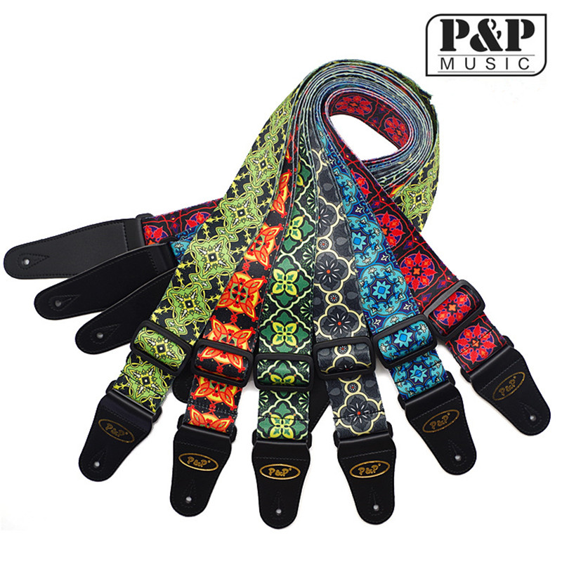 P&P Guitar / electric guitar strap classical national style embroidery, electric guitar straps Nylon S008 71-W two way regulating lever acoustic classical electric guitar neck truss rod adjustment core guitar parts